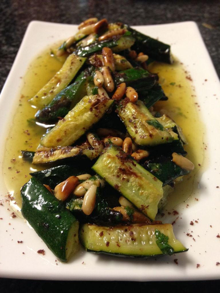 Grilled courgette, sumac and pine nut salad