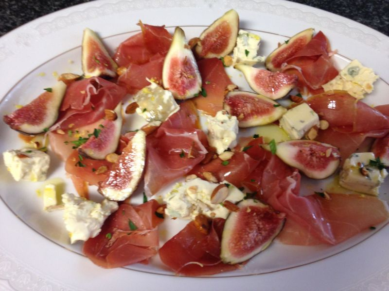 An italian interlude - not from the book. Prosciutto, fig and gorgonzola.