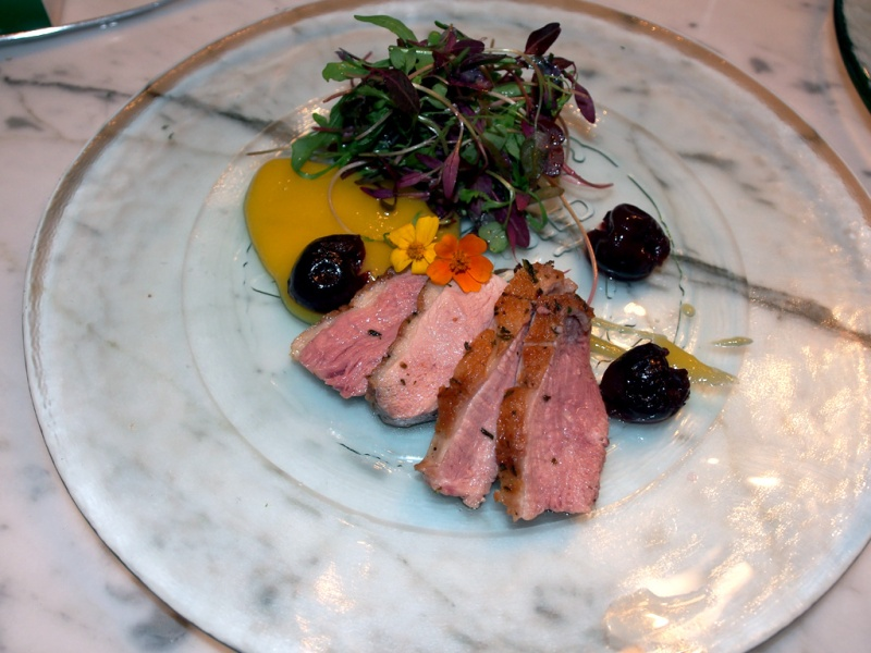 Duck and Smoked Cherry Salad with Mango Puree